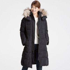 Uniqlo Black Warm Tech Puffer Hooded Coat, XL